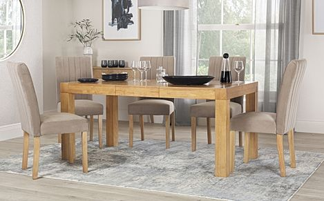Cambridge Oak 125-170cm Extending Dining Table with 4 Salisbury Mink Velvet Chairs
