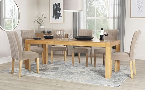 Cambridge 175-220cm Oak Extending Dining Table with 8 Salisbury Mink Velvet Chairs