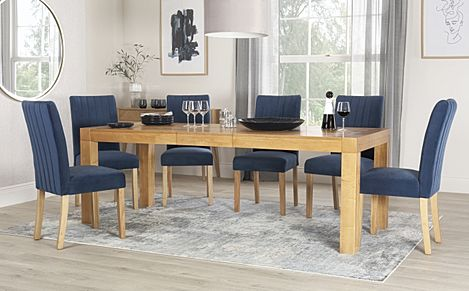 Cambridge 175-220cm Oak Extending Dining Table with 6 Salisbury Blue Velvet Chairs