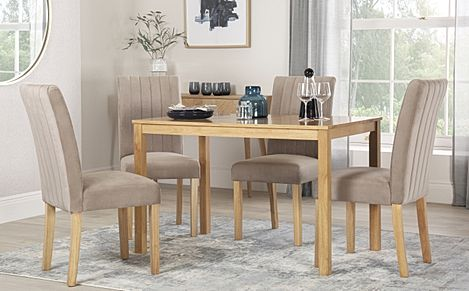 Milton Oak Dining Table with 4 Salisbury Mink Velvet Chairs