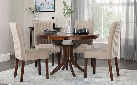 Hudson Round Dark Wood Extending Dining Table with 4 Salisbury Mink Velvet Chairs