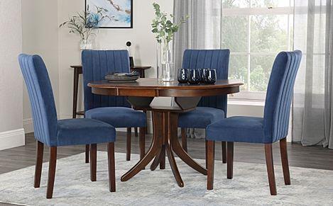 Hudson Round Dark Wood Extending Dining Table with 6 Salisbury Blue Velvet Chairs