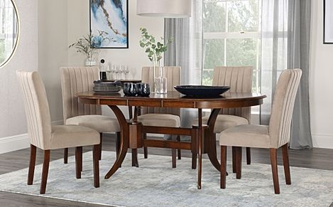 Townhouse Oval Dark Wood Extending Dining Table with 6 Salisbury Mink Velvet Chairs