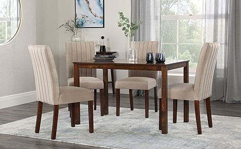 Milton Dark Wood Dining Table with 6 Salisbury Mink Velvet Chairs