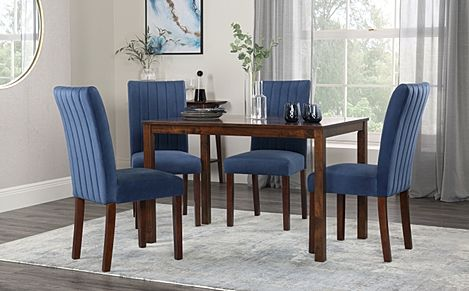 Milton Dark Wood Dining Table with 4 Salisbury Blue Velvet Chairs