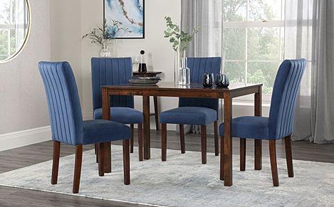 Milton Dark Wood Dining Table with 6 Salisbury Blue Velvet Chairs
