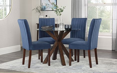 Hatton Round Walnut and Glass Dining Table with 4 Salisbury Blue Velvet Chairs