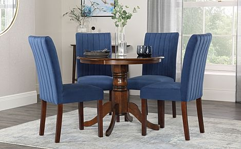 Kingston Round Dark Wood Dining Table with 4 Salisbury Blue Velvet Chairs