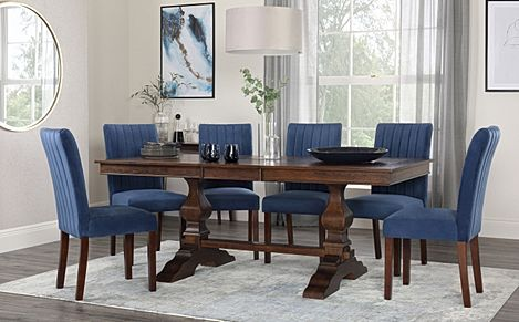 Cavendish Dark Wood Extending Dining Table with 8 Salisbury Blue Velvet Chairs