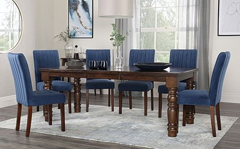 Hampshire Dark Wood Extending Dining Table with 4 Salisbury Blue Velvet Chairs