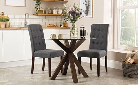 Hatton Round Dark Wood and Glass Dining Table with 2 Regent Slate Fabric Chairs