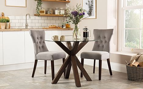 Hatton Round Walnut and Glass Dining Table with 2 Bewley Grey Velvet Chairs