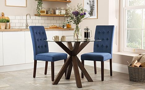 Hatton Round Walnut and Glass Dining Table with 2 Regent Blue Velvet Chairs