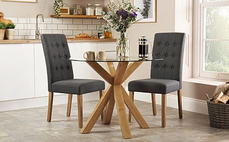 Hatton Round Oak and Glass Dining Table with 2 Regent Slate Fabric Chairs