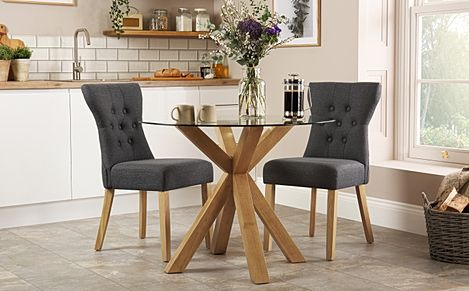 Hatton Round Oak and Glass Dining Table with 2 Bewley Slate Chairs