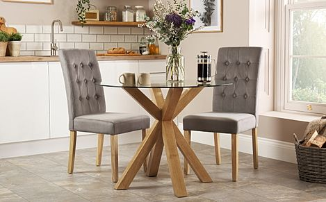 Hatton Round Oak and Glass Dining Table with 2 Regent Grey Velvet Chairs
