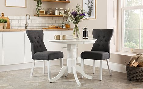 Kingston Round White Dining Table with 2 Bewley Slate Fabric Chairs