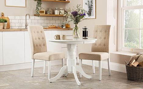 Kingston Round White Dining Table with 2 Regent Oatmeal Chairs
