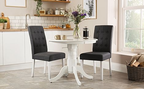 Kingston Round White Dining Table with 2 Regent Slate Fabric Chairs