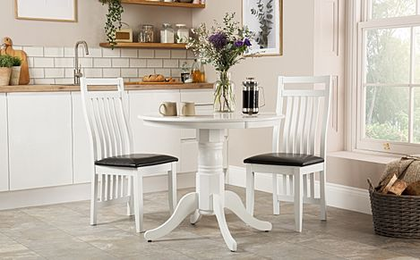 Kingston Round White Dining Table with 2 Java Chairs (Black Leather Seat Pads)
