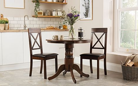 Kingston Round Dark Wood Dining Table with 2 Kendal Chairs (Brown Seat Pad)