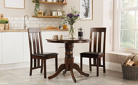 Kingston Round Dark Wood Dining Table with 2 Chester Chairs (Brown Leather Seat Pads)
