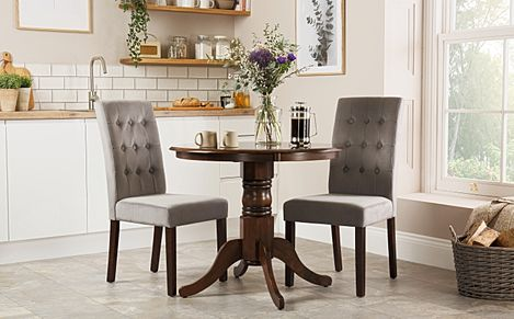Kingston Round Dark Wood Dining Table with 2 Regent Grey Velvet Chairs