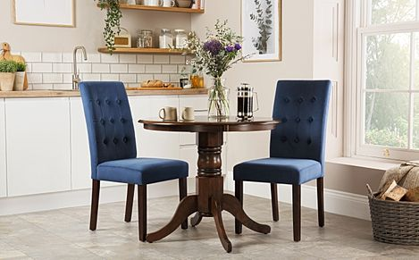 Kingston Round Dark Wood Dining Table with 2 Regent Blue Velvet Chairs