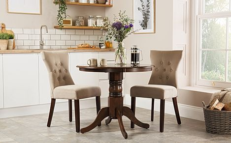 Kingston Round Dark Wood Dining Table with 2 Bewley Mink Velvet Chairs