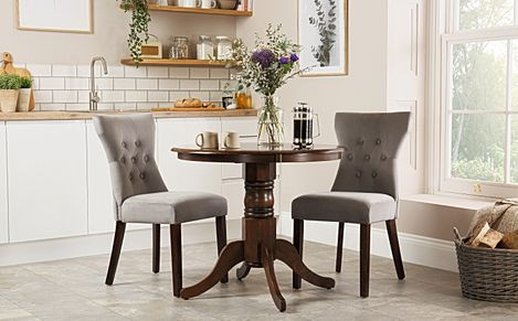 Kingston Round Dark Wood Dining Table with 2 Bewley Grey Velvet Chairs