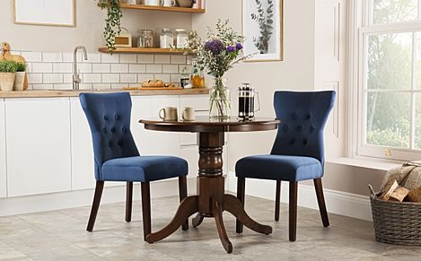 Kingston Round Dark Wood Dining Table with 2 Bewley Blue Velvet Chairs