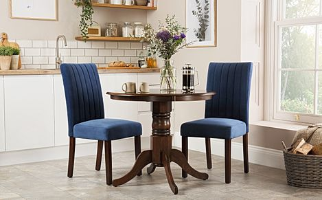 Kingston Round Dark Wood Dining Table with 2 Salisbury Blue Velvet Chairs