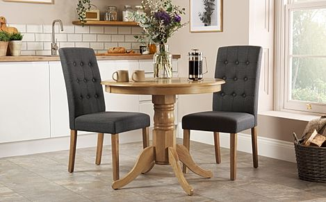 Kingston Round Oak Dining Table with 2 Regent Slate Fabric Chairs
