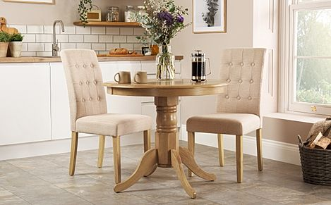 Kingston Round Oak Dining Table with 2 Regent Oatmeal Chairs