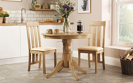 Kingston Round Oak Dining Table with 2 Chester Chairs (Ivory Leather Seat Pads)