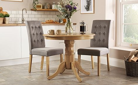 Kingston Round Oak Dining Table with 2 Regent Grey Velvet Chairs