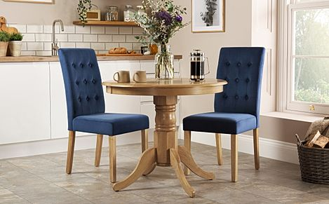 Kingston Round Oak Dining Table with 2 Regent Blue Velvet Chairs