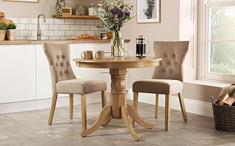 Kingston Round Oak Dining Table with 2 Bewley Mink Velvet Chairs
