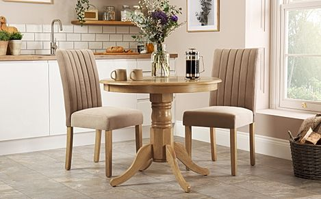 Kingston Round Oak Dining Table With 2 Salisbury Mink Velvet Chairs