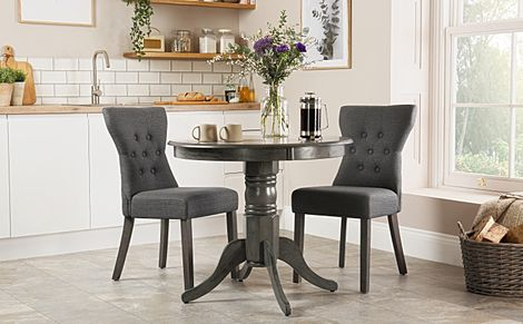 Kingston Round Grey Wood Dining Table with 2 Bewley Slate Chairs