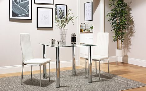 Nova Square Glass and Chrome Dining Table with 2 Leon White Leather Chairs