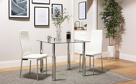 Nova Square Chrome and Glass Dining Table with 2 Renzo White Chairs