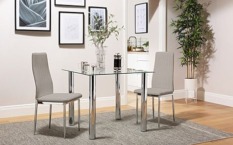 Nova Square Glass and Chrome Dining Table with 2 Leon Taupe Leather Chairs