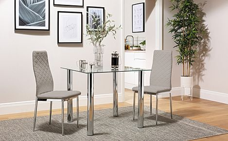 Nova Square Chrome and Glass Dining Table with 2 Renzo Taupe Chairs