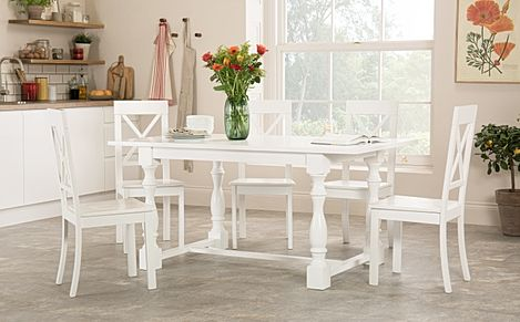 Devonshire White Dining Table with 4 Kendal Chairs