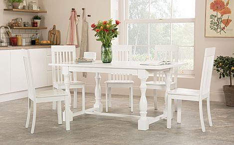 Devonshire White Dining Table with 4 Oxford Chairs