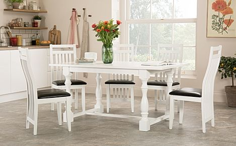 Devonshire White Dining Table with 6 Java Chairs