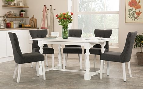Devonshire White Dining Table with 4 Bewley Slate Chairs
