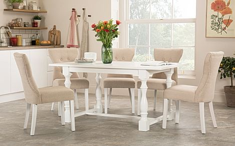Devonshire White Dining Table with 6 Bewley Oatmeal Fabric Chairs