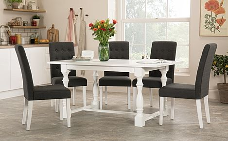 Devonshire White Dining Table with 6 Regent Slate Fabric Chairs